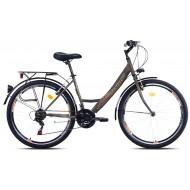 Bicicleta Capriolo Metropolis Lady 26 negru/portocaliu 43 cm