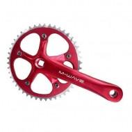 Angrenaj pedalier M-WAVE - ax pătrat - single speed roșu