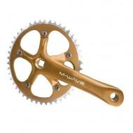 Angrenaj pedalier M-WAVE - ax pătrat - single speed auriu