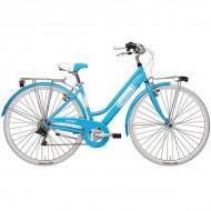 """Bicicleta ADRIATICA Panarea Lady 28"""" 6V albastru/alb 45 cm"""