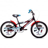 "Bicicleta CAPRIOLO Mustang 20"" negru/rosu/albastru/alb"