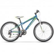 """Bicicleta CROSS Gravito 24"""" albastru/verde/alb 35 cm"""
