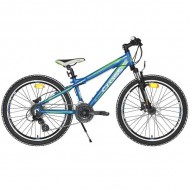 """Bicicleta CROSS Gravito 24"""" albastru/verde"""