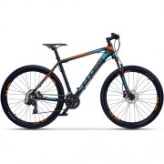 "Bicicleta CROSS GRX 7 DB 27.5"" negru/albastru/ portocaliu 46 cm"