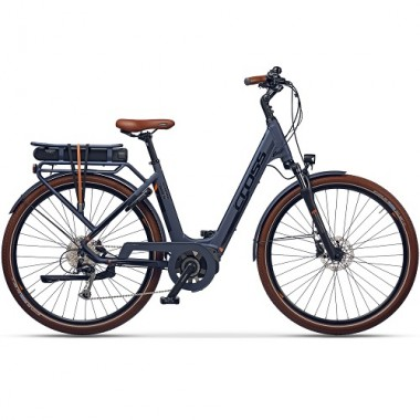 "Bicicleta E-Bike CROSS Elegra LS E-Trekking 28"" albastru/negru/maro 50 cm"