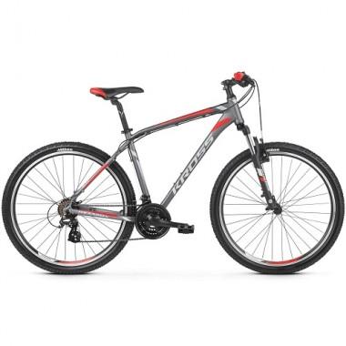 """Bicicleta KROSS Hexagon 2.0 V-brake 26"""" gri/alb/rosu S"""