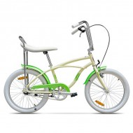 "Bicicleta PEGAS Strada Mini single-speed 20"" crem/verde"
