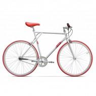 "Bicicleta PEGAS Clasic single-speed 28"" alb/roşu 60 cm"