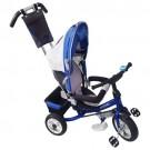 Tricicletă cărucior RICHBABY cu împingător - negru/albastru