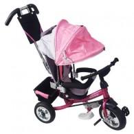 Tricicletă cărucior RICHBABY cu împingător - negru/roz