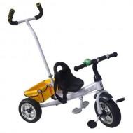 Tricicletă RICHBABY cu împingător - negru/alb
