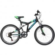 """Bicicleta ULTRA Apex 24"""" negru/albastru/verde 47cm"""