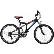 "Bicicleta ULTRA Apex 26"" negru/albastru/portocaliu 47cm"