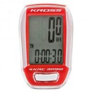 Bike computer KROSS KRC 309W 9F alb/roşu - wireless