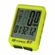 Bike computer FORCE 12F galben fluo - wireless