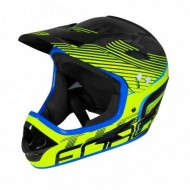 Cască protecție FORCE Tiger Downhill negru/fluorescent/albastru L-XL