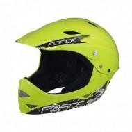 Cască protecție FORCE Downhill Junior fluorescent S-M