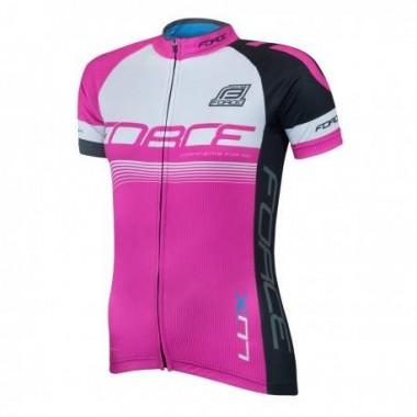 Tricou ciclism damă FORCE Lux roz mărime L