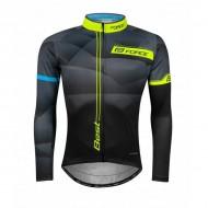 Bluză ciclism FORCE Best maneci lungi negru/fluo L