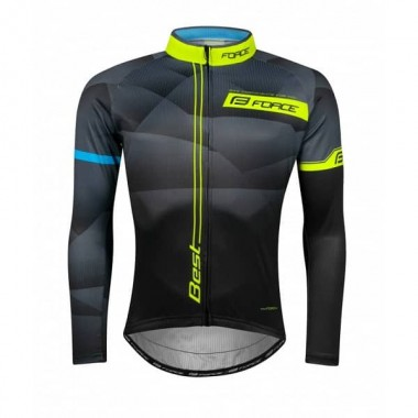 Bluză ciclism FORCE Best maneci lungi negru/fluo XL