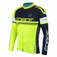Bluză ciclism unisex FORCE Lux negru/fluo