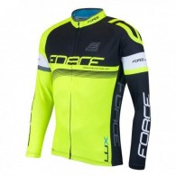 Bluză ciclism unisex FORCE Lux negru/fluo mărime M