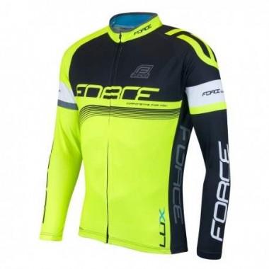 Bluză ciclism unisex FORCE Lux negru/fluo mărime S