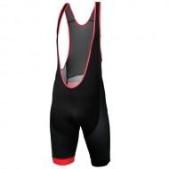 Pantaloni de ciclism scurți cu bretele KROSS Pave negru/roșu
