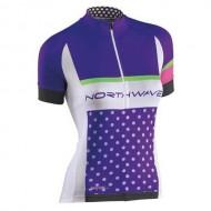 Tricou ciclism damă NORTHWAVE Logo violet/alb mărime L