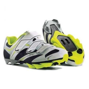 Pantofi de damă NORTHWAVE MTB Katana 3S alb-argintiu-galben