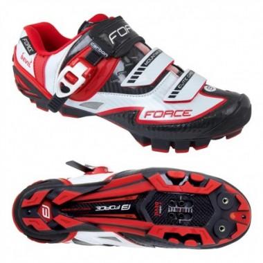 Pantofi FORCE MTB Carbon Devil alb-roşu mărime 40