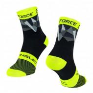 Șosete FORCE Triangle negru/fluorescent/gri S-M