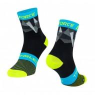 Șosete FORCE Triangle negru/fluorescent/albastru/gri L-XL