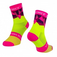 Șosete FORCE Triangle fluorescent/roz S-M