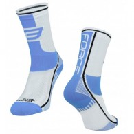 Șosete FORCE Long Plus albastru deschis/alb/negru L-XL