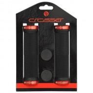 Manșoane ghidon CROSSER HL-G201 - 130 mm negru/roşu