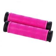 Manșoane ghidon BIKEFORCE 130 mm negru/roz