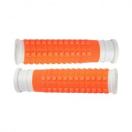 Manșoane ghidon FORCE Rubber alb/portocaliu - 125 mm