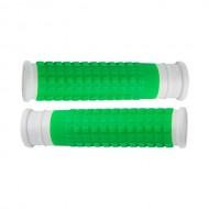 Manșoane ghidon FORCE Rubber alb/verde - 125 mm