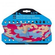 Bandană ciclism M-WAVE camouflage roz/albastru
