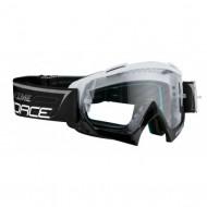Ochelari downhill FORCE Grime negru/alb - lentile transparente + 10 tear offs