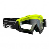 Ochelari downhill FORCE Grime negru/fluo - lentile transparente + 10 tear offs