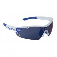 Ochelari ciclism FORCE Race Pro albi / lentile albastre