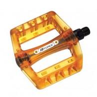 Pedale BMX FORCE - plastic - transparent portocaliu