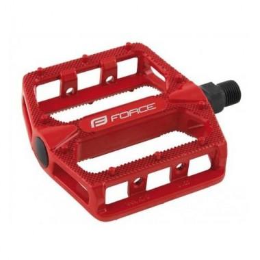 Pedale BMX FORCE Hot - aluminiu - roșii