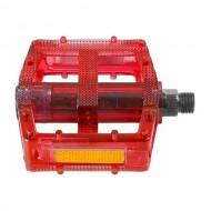 Pedale M-WAVE Polycarbonat - roşu transparent